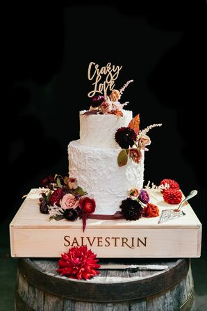Two-Tier Wedding Cake with Fall Blooms and Personalized Cake Topper