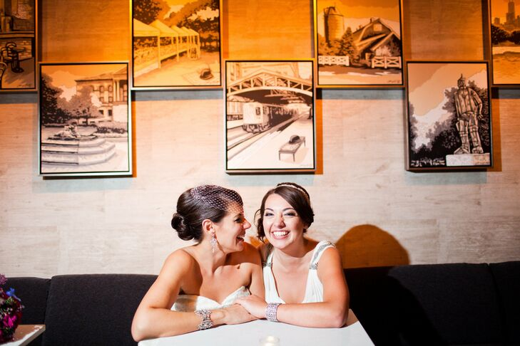 Connie and Jessica used a bold color palette of jewel tones for their glam Chicago-inspired day.