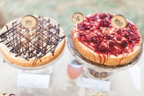 Chocolate- and Raspberry-Topped Cheesecakes