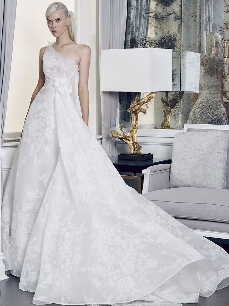 Romona Keveza Collection Fall 2018 wedding dress with one shoulder and a ruched bodice