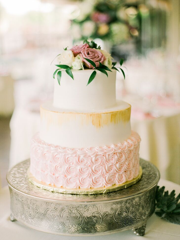 Gold Brushed Cake with Blush Buttercream Rosettes