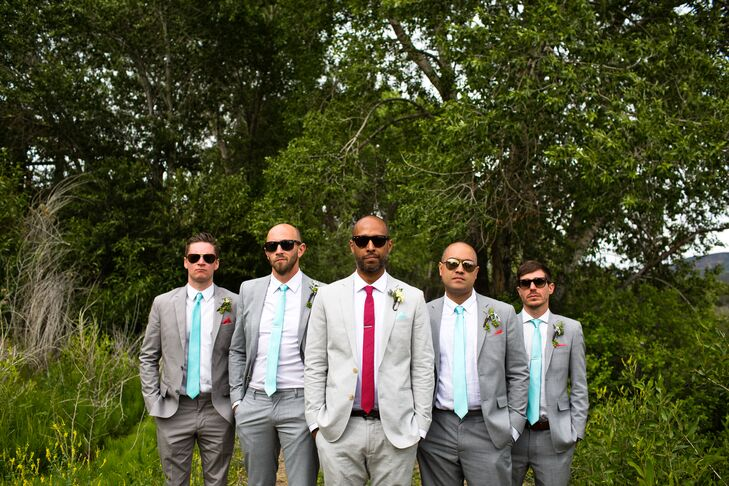 6e7f94d85742 Gray, Mint and Red Groomsmen Suits