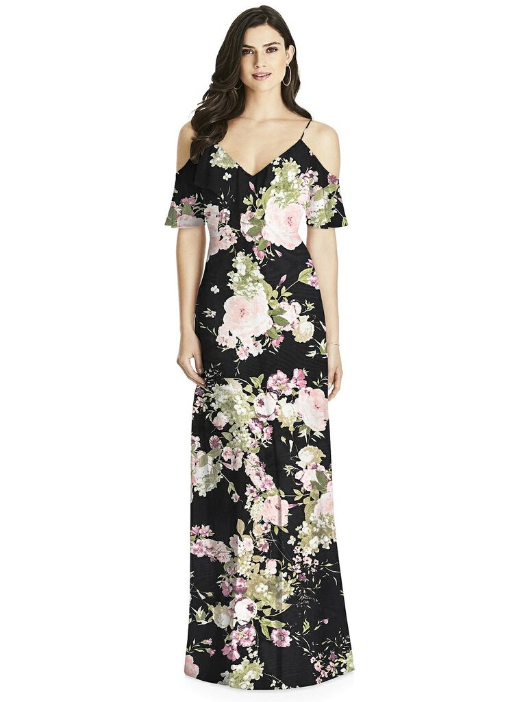 Black floral bridesmaid dress with cold shoulders