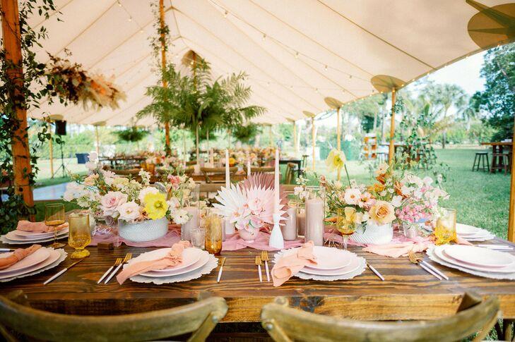 Blush Place Settings at Bohemian Wedding in Naples, Florida
