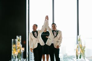 Grooms with White Jackets and Black Pants