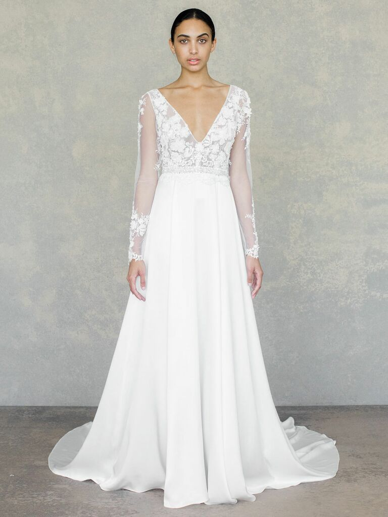 Claire Pettibone Spring 2019 a-line wedding dress with embroidered lace long sleeves