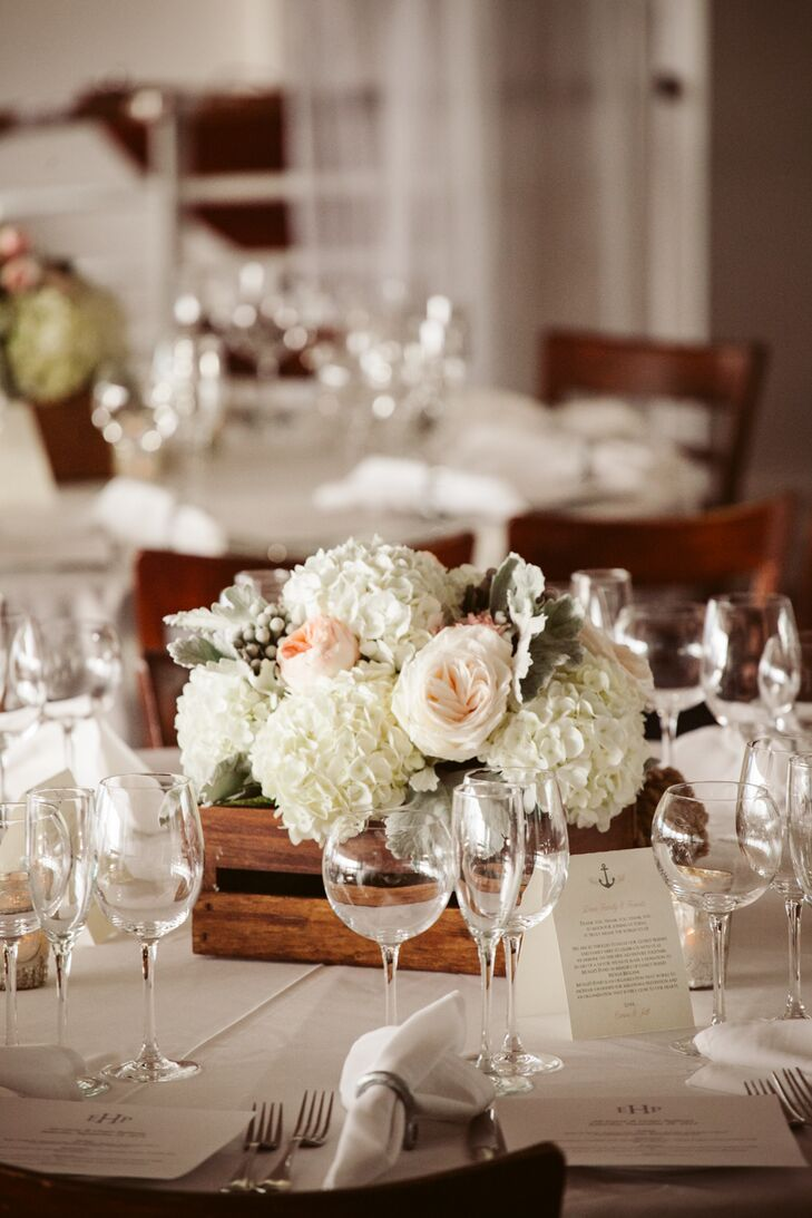 Ivory Hydrangea and Garden Rose Centerpieces