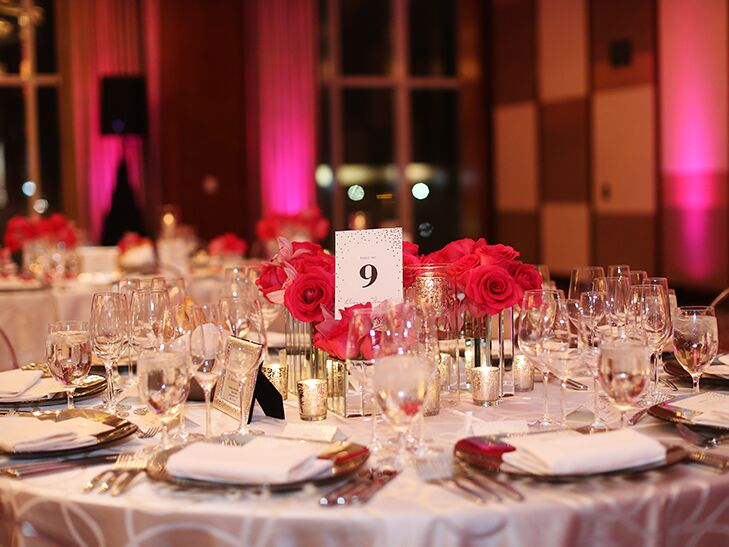 silver and pink wedding reception table decor