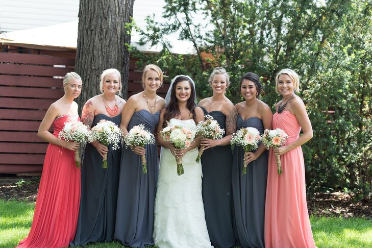 8ca9226cc0d Eclectic Gray and Pink Bridesmaid Dresses