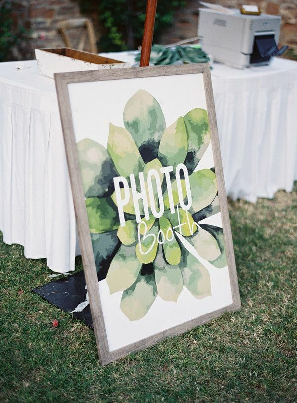 Photo booth sign with succulent illustration