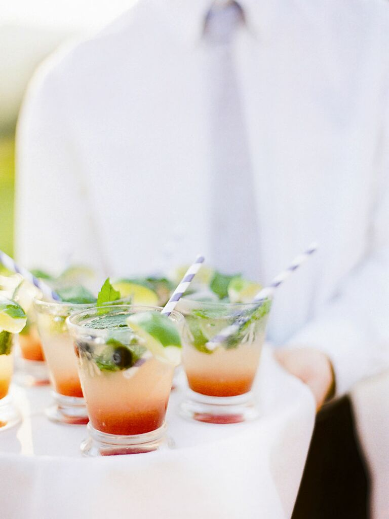 Summer berry mojito signature wedding cocktail