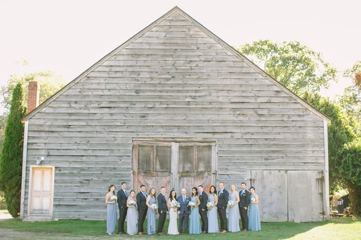 Classic Pale Blue Bridesmaid Dresses and Gray Suits