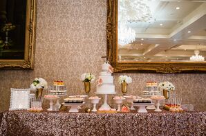 Dessert Table Topped with Sequined Linen