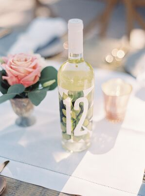 Wine Bottle Table Numbers with Botanical Succulent Print