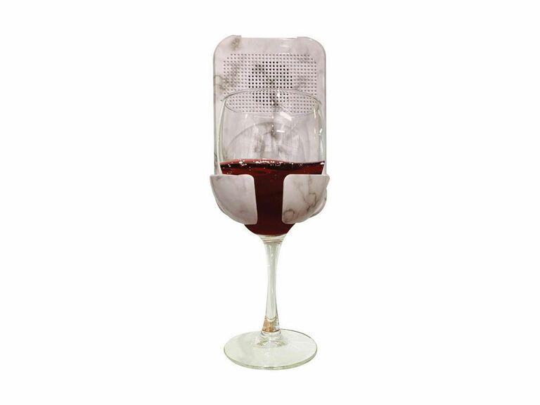 marble shower speaker wine holder gift for fiance
