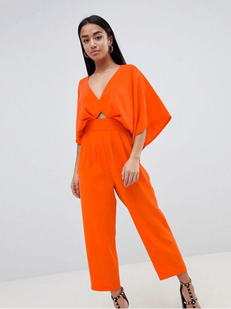 petite orange kimono jumpsuit