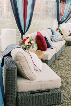 Wicker Lounge Furniture in Clear Tent