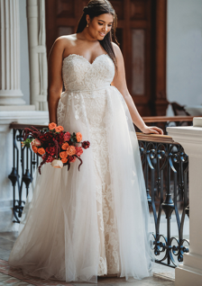 plus size wedding dress with tulle over skirt