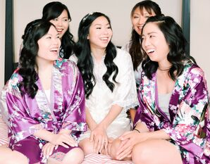 Bride and Bridesmaids Getting Ready with Matching Robes