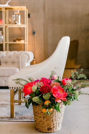 Lounge Furniture and Pink Flower Arrangement