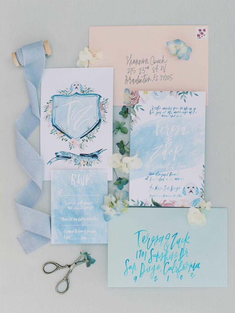 Blue watercolor wedding invitation suite