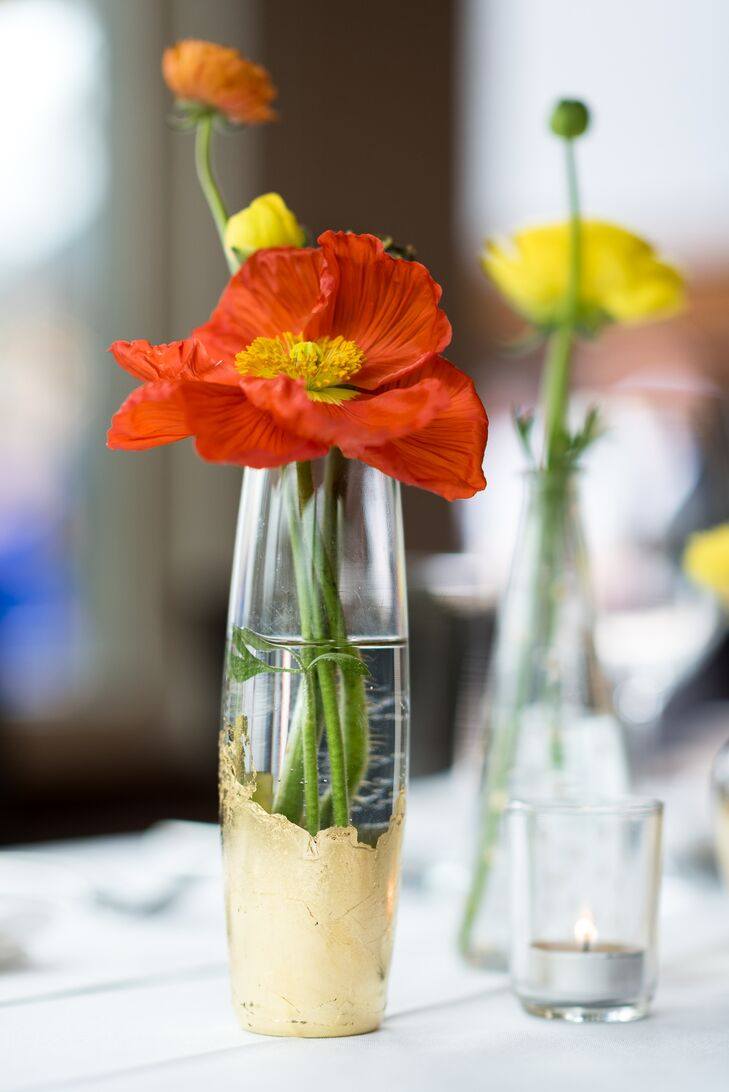 Diy gold dipped glass vase centerpieces