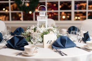 Wintery White Centerpieces with Carriage Lanterns