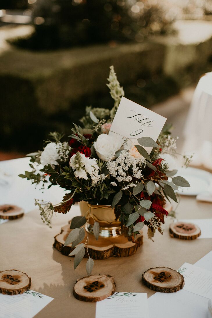 Rustic, Autumnal Centerpiece and Personalized Wood Slice Coasters