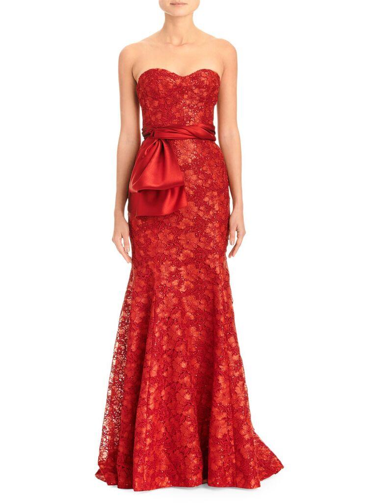 Carolina Herrera strapless lace trumpet gown