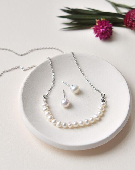Dareth Colburn Modern Freshwater Pearl Bridesmaid Jewelry Set (JS-1707-BR) Wedding Necklaces photo
