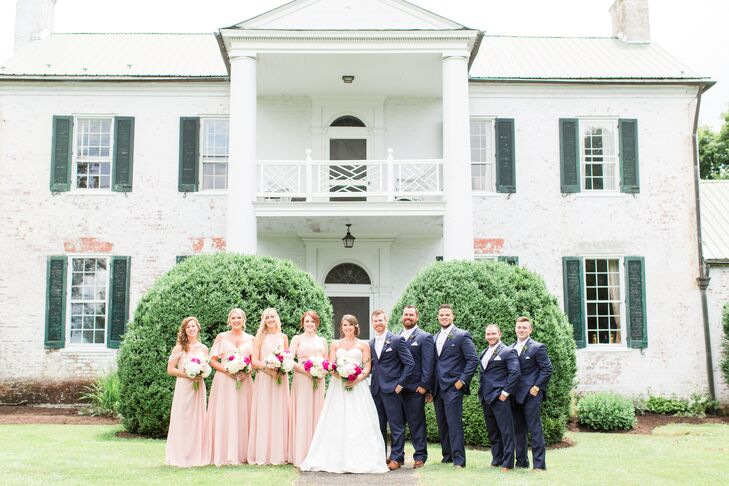 Blush Bridesmaid Dresses and Navy Suits