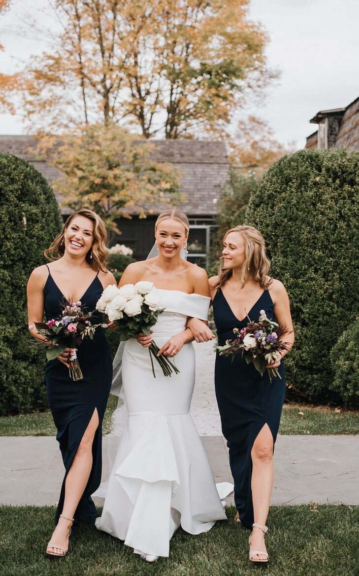 Modern Off-the-Shoulder Mermaid Wedding Dress and Black Bridesmaid Dresses