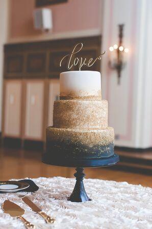 Navy and Gold Zingerman's Wedding Cake
