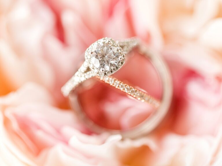 Cushion Cut Engagement Ring With Diamond Halo And Diamond Wedding Band