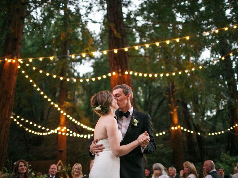 Couple at wedding reception venue