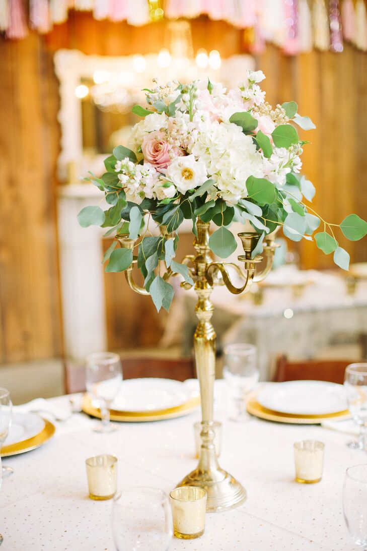 Gold Candelabra Centerpiece With Blush and Ivory Flowers