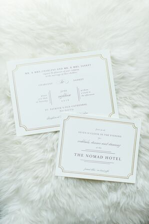 Traditional Ivory and Gold Wedding Invitations