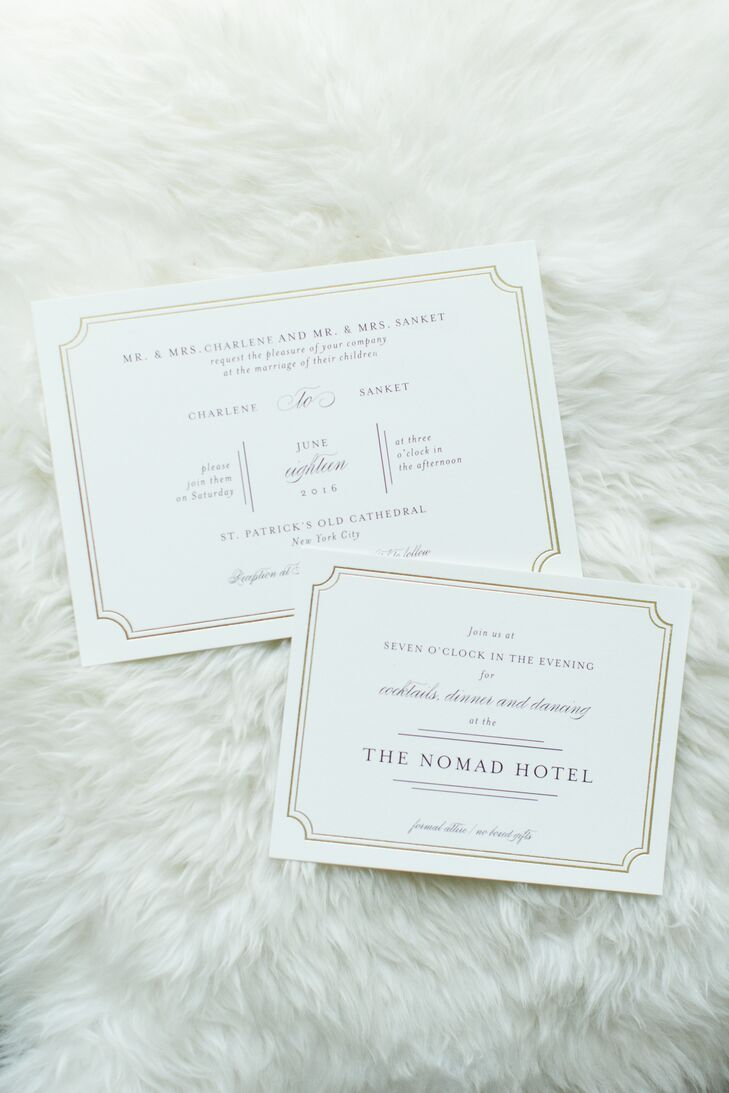 The invitations captured the evening's elegant urban feel with classic ivory card stock adorned with gold script and letterpress details.
