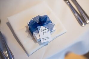 Blue Ribbon-Tied Favor Boxes