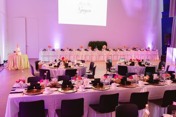 """""""Our tablecloths also incorporated our black and white graphic prints, which were black and white stripes and polka dots,"""" says Shawn. """"Texture was added by using confetti tablecloths on several of the round tables."""""""