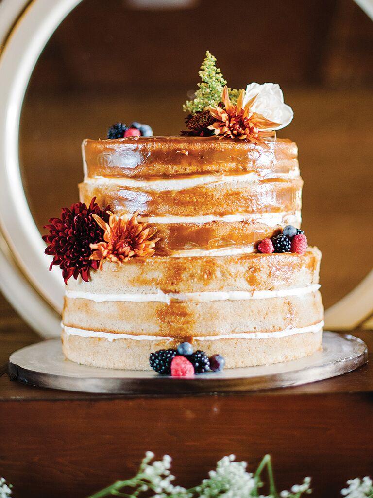 Caramel-covered naked wedding cake