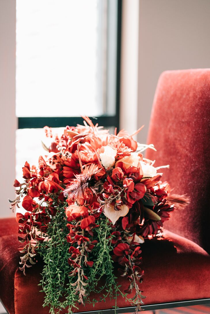 Cascading Red Orchid Bouquet