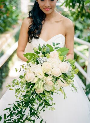 Cascading Bouquet of Champagne Blooms and Greenery