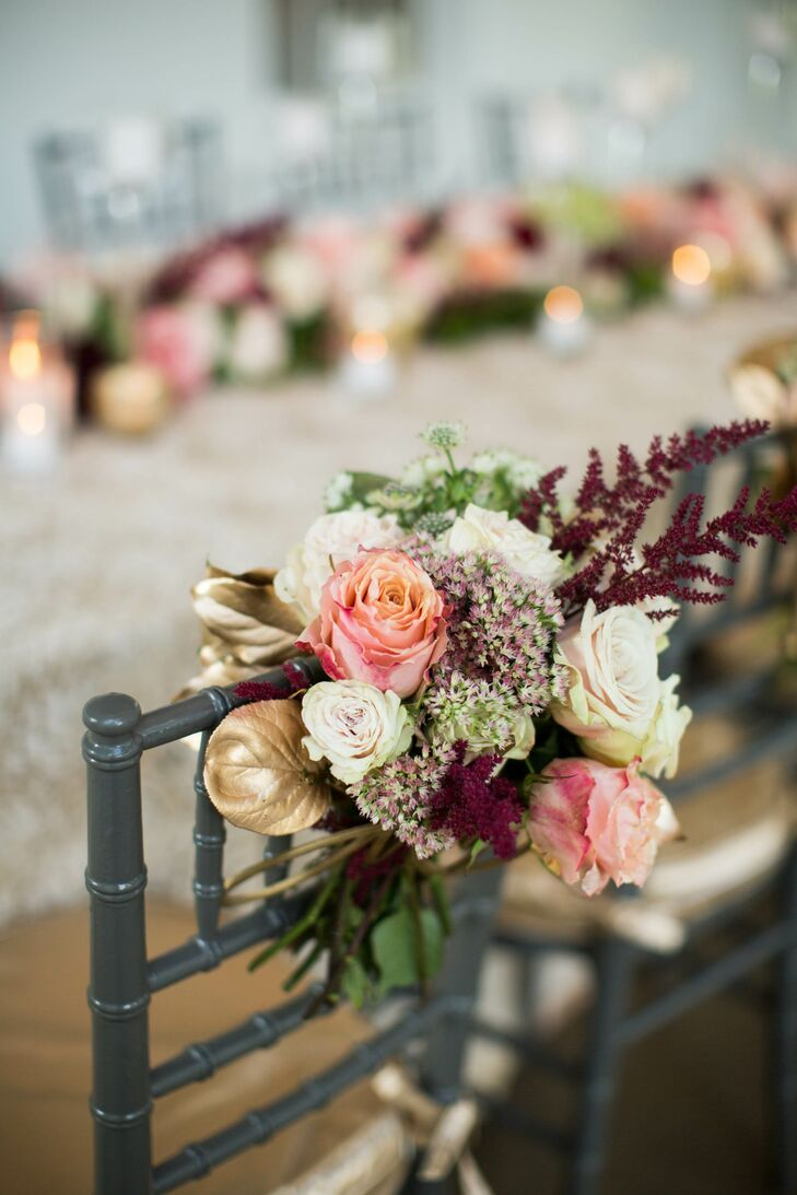 Gold and Burgundy Sweetheart Chair Arrangements