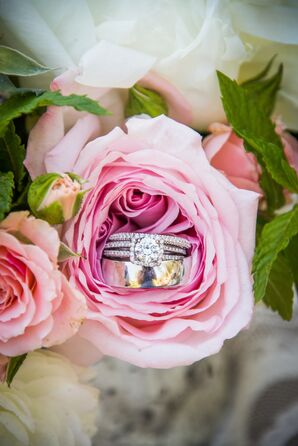 Diamond Engagement Ring and Band in Rose