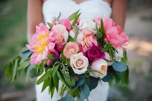 Watercolor-Inspired Bouquet of Pink, Peach and Fuchsia
