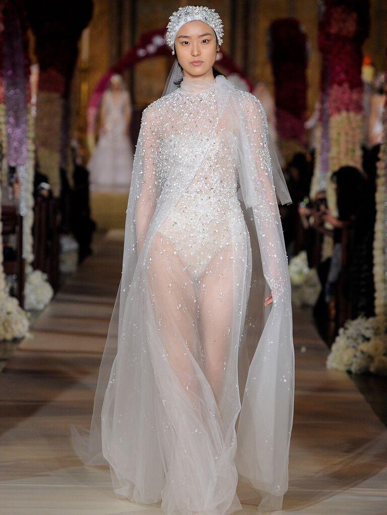 Reem Acra Spring 2020 Bridal Collection beaded sheer bridal look