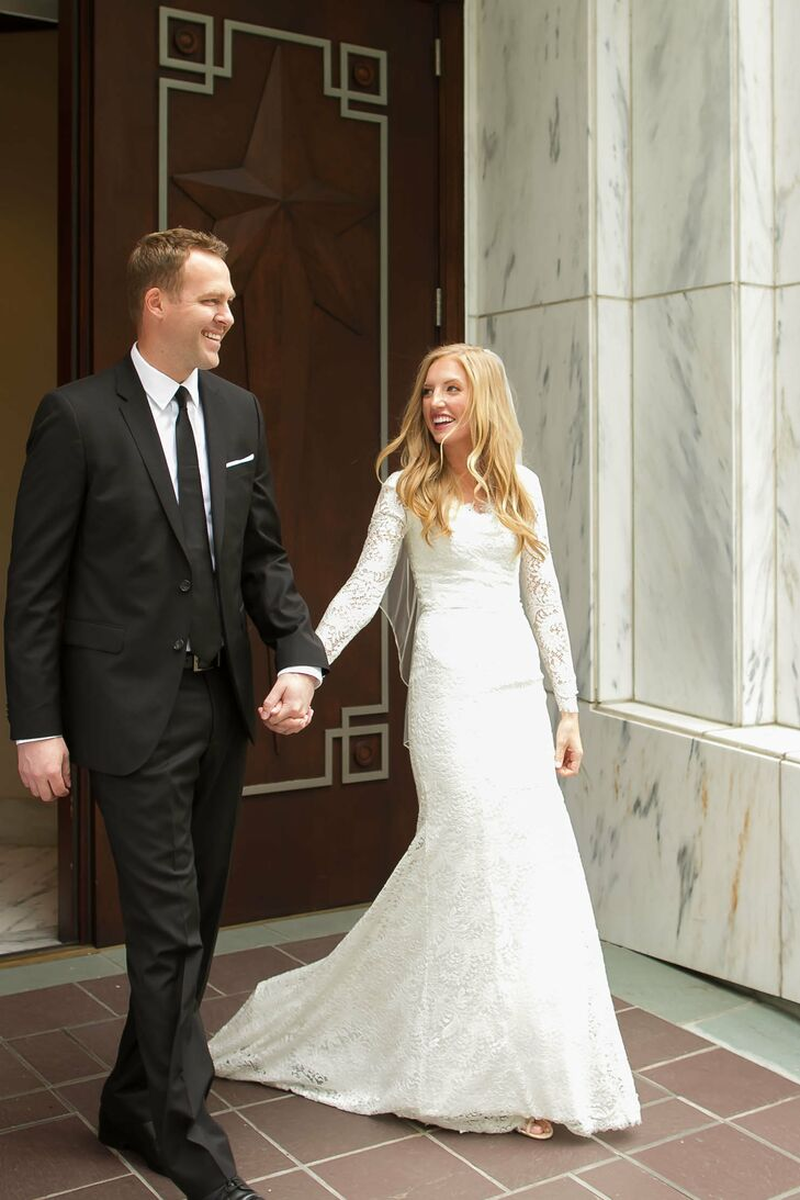 """Emily found the classic white wedding dress she wanted at Alta Moda in Salt Lake City, Utah. Italian lace covered the entire """"Gabriella"""" dress designed by Theia, which had the neckline, sleeves and other details customized."""