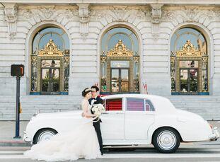 Christina Kwong and Thomas Dang put their own spin on a city hall wedding by throwing a romantic black-tie bash in San Francisco City Hall's striking