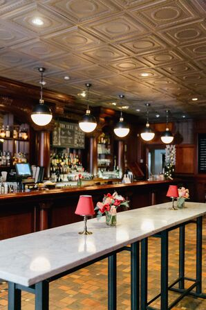 The Olde Bar Decorated with Simple Red Accessories